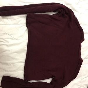 F21 burgundy crop top sweater